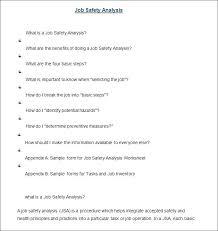 Job Hazard Analysis Worksheet Job Safety Analysis Form Template