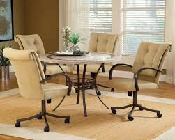 dining room sets with upholstered chairs with casters kitchen table and chairs with wheels