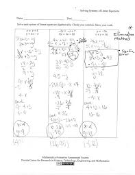 solving systems of linear equations algebraically worksheet them and try to solve elimination graphing pdf answers