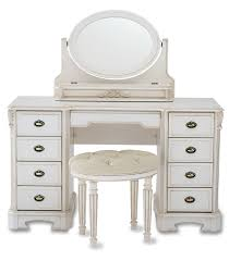 bedroom furniture white wooden vanity dressing table with oval swing mirror and eight side drawers plus round stool as well makeup also nesting tables