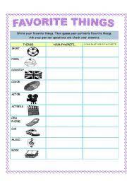 English Worksheets Favorite Things