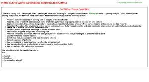 Unit Clerk Cover Letter Ward Clerk Career Samples