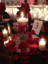Red Rose Centerpiece with floating candle. By Breezewood Floral