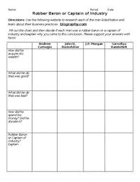Robber Barons Or Captains Of Industry Worksheets Teaching