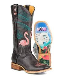 Tin Haul Black Flamingo Low Top Leather Cowboy Boot Women