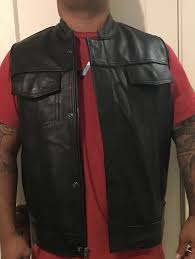 custom made leather motorcycle vest xl