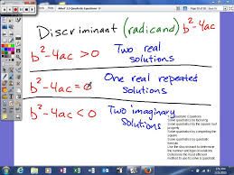 1 5 quadratic equations use the discriminant to determine the number and type of solutions