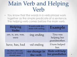 Verb Phrases  Main Verb  and Helping Verbs Pages and ppt download
