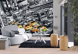 wallpaper new york city streets wall mural 366x254cm black white yellow cabs