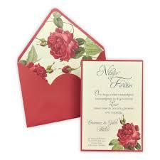 Dark Red Wedding Invitation With Envelope Insert Floral Design 5566