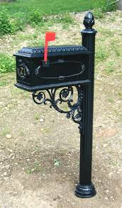 aluminum mailbox post. P18 Traditional Post - Black Pictured With Discontinued Mailbox Aluminum H