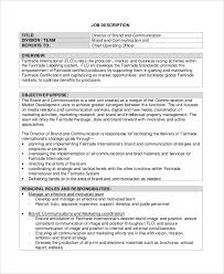 Samples Of Job Descriptions Sample Brand Manager Job Description 9 Examples In Pdf