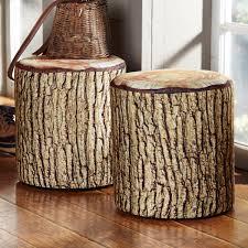 Tree Stump Seats Cushioned Tree Bark Log Seat