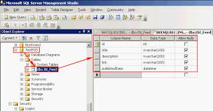 create dynamic rss feed from ms sql server using asp net part  create a sample database and table