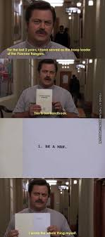 Ron Swanson Chart Of Manliness Ron Swansons Handbook Be A Man Manliness Parks Recs