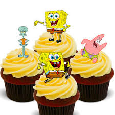 Spongebob Squarepants Pack Of 12 Edible Cup Cake Toppers Fairy Bun