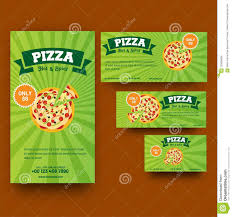 Green Coupon Or Template Set For Pizza Or Fast Food Corner