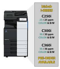 Copier Comparison Chart Preorder A Bizhub C250i Bizhub C300i Bizhub C360i Ny Nj
