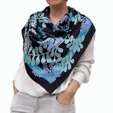 Designer Head Scarf Designer Square Silk Scarf Hand Painted And Printed In Black And Turquoise Blue Large Neckerchief Head Shawl Gift For Lady