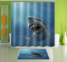 100 polyester shark bathroom decor shower curtain 12 hook bath mat rug yl3345