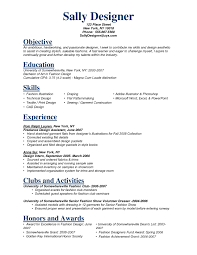 Best Fashion Design Student Resume Objective Images Entry Level
