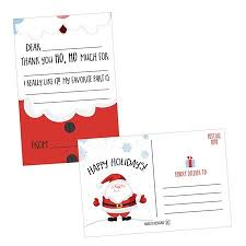 Blank Thank You Notes 25 Christmas Holiday Kids Thank You Cards Santa Fill In The Blank Thank You Notes Personalized Card For Birthday Party Or Christmas Gifts