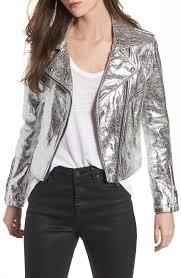 blanknyc women s blanknyc metallic faux leather moto jacket