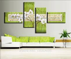 handpainted modern flowers wall paintings on canvas oil wall art abstract four pieces pink floral light on green wall art decor with wall art best collection mint green canvas wall art easy green box