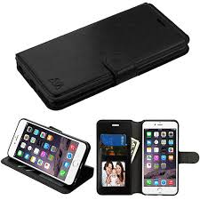 mybat for apple iphone 6 plus black leather flip wallet case cover stand for