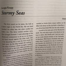 what s happening knapp the essay is entitled stormy seas and is about a harrowing boat trip i took to and from the shetland islands in scotland