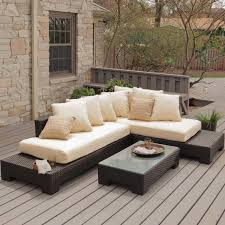 l shaped patio furniture with wooden deck pattern and cream cushion patio chairs