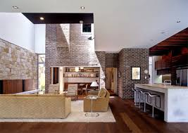 in the living room or family is designed combining modern and traditional stonecovered walls of natural stone wood flooring from mini bar style interior design n21 design