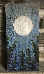 one of a kind painting on weathered antique barn board