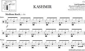 drum sheet kashmir led zeppelin drum sheet music onlinedrummer com