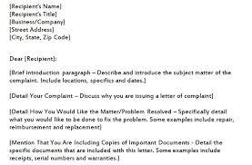 Complaint Template Complaint Letter Template