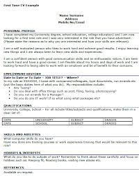First Time Job First Time Job Cv Example Icover Org Uk