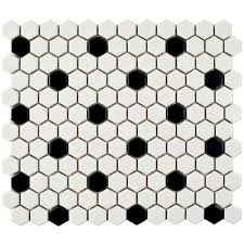 metro hex matte white with black dot 10 1 4 in x 11 3 4 in x 6 mm porcelain mosaic tile 8 56 sq ft case