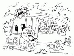Small Picture Cartoon School Bus coloring page for kids back to school coloring