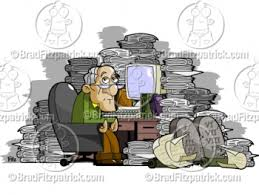 messy desk clipart. Beautiful Desk Old Man At A Cluttered Messy Desk Clipart Inside I