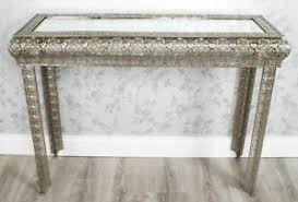 silver hall table. Image Is Loading SILVER-MOROCCAN-EMBOSSED-METAL-GLASS-CONSOLE-SIDE-HALL- Silver Hall Table