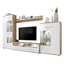 white tv entertainment center. Modern 2 Entertainment Center Wall Unit With LED Lights 60 To 70 Inch TV Stand, Oak And High Gloss White Tv N