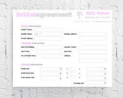 hair stylist bridal agreement contract template editable printable word doent 8 5x11 mac