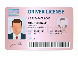 License Flat Card Vector Plastic Colourbox Driver Man Stock