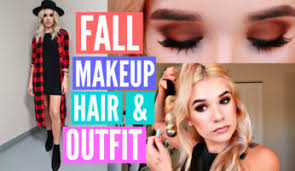 on trend fall makeup hair outfit get ready with me