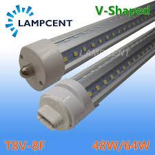 Great Value T8 T12 Led Light Bulbs T8 V Shape Led Tube Bulb 8ft 48w 64w Fa8 Single Pin R17d Ho Led Shop Light Fixture Dual Row Chip Lamp Clear Cover 2 100 Pack