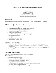 Entry Level Accounting Resume Efficient Representation Jobs No