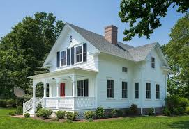 red front door white house. Farmhouse Front Porch Exterior Victorian With White House Historic Preservation Decorative Brackets Red Door ,
