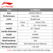 Li Ning Badminton String Chart Us 90 99 30 Off 72g Super Light Li Ning 2017 Badminton Racket Newest Windstorm 72 High Pounds Up To 30lbs Aypm084 Racquets With Overgrip L707olb In