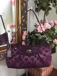 Coach Wristlet 46666 Madison Large Op Art Clutch Bag Purple B26