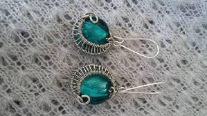 foil bead earrings with wire wrap swirl